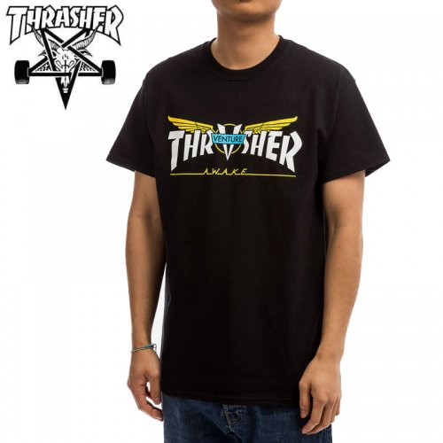【スラッシャー THRASHER Tシャツ】VENTURE TRUCKS COLLAB T-SHIRT 【ブラック】 NO124