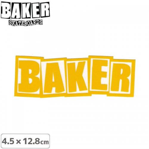 【ベーカー スケボー ステッカー】BAKER LOGO STICKER 4.5cm×12.8cm イエロー NO72