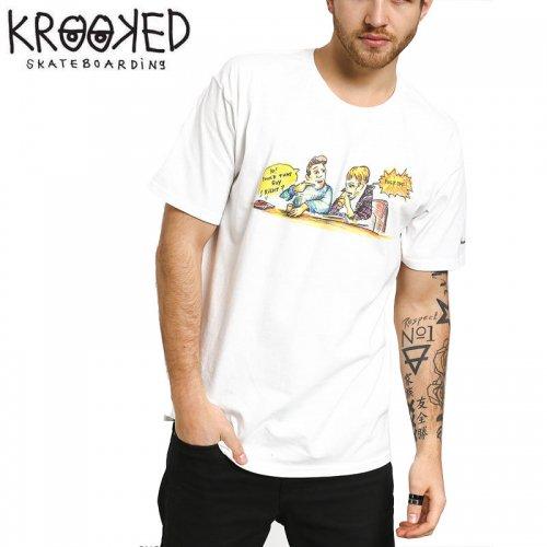 半額セール【KROOKED クルックド スケートボード Tシャツ】SMOKING S/S TEE【ホワイト】NO107