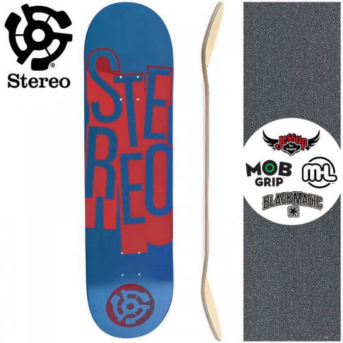 【STEREO ステレオ スケボー デッキ】STACKED NAVY RED DECK【7.7インチ】NO75