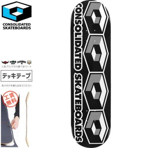 【CONSOLIDATED コンソリデーテッド スケートボード デッキ】TEAM 4 CUBE DECK ブラック【7.5インチ】【7.625インチ】【8.125インチ】NO29