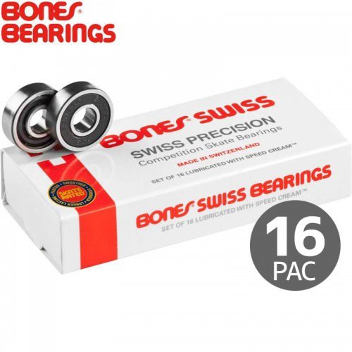 【ボーンズ BONES BEARINGS スケボー ベアリング】SWISS BEARINGS PAC16 スイス 16個セット NO11