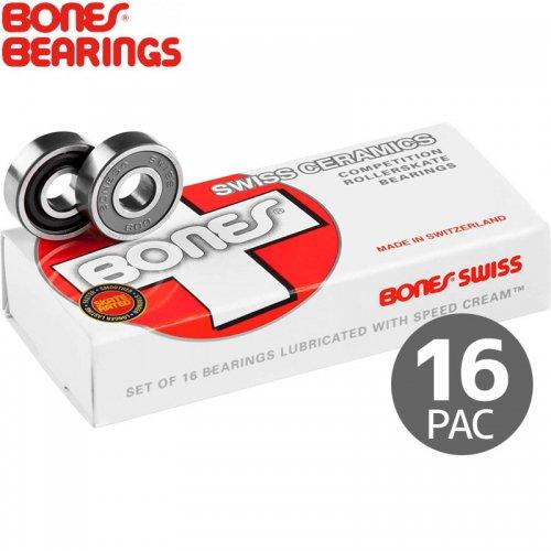【ボーンズ BONES BEARINGS スケボー ベアリング】SWISS CERAMIC BEARINGS PAC16 スイス セラミック 16個セット NO12