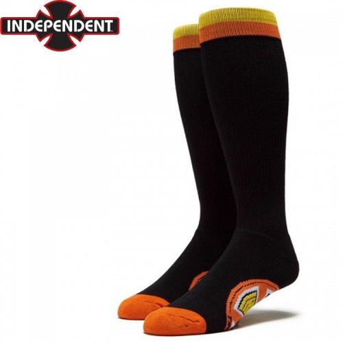 【インディペンデント スケートボード ハイソックス INDEPENDENT】CHROMA TALL SOCKS ブラック×オレンジ NO42