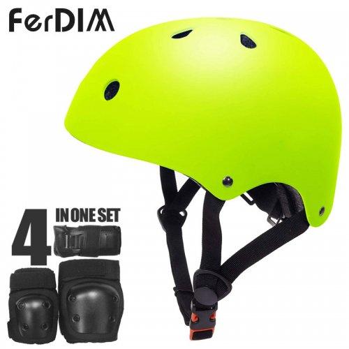 【FERDIM ファーディーム スケートボード ヘルメット】SKATEBOARD HELMET AND PAD SET イエロー NO1