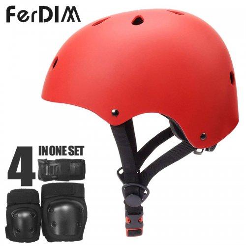 【FERDIM ファーディーム スケートボード ヘルメット】SKATEBOARD HELMET AND PAD SET レッド NO3