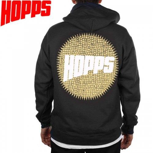【HOPPS ホップス スケートボード パーカー】SUN TITLE HOODIE【ブラック】NO2