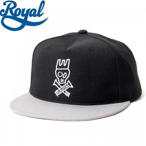 【ロイヤル ROYAL TRUCKS スケボー キャップ】SKULL SNAPBACK HAT ブラック/グレー NO15