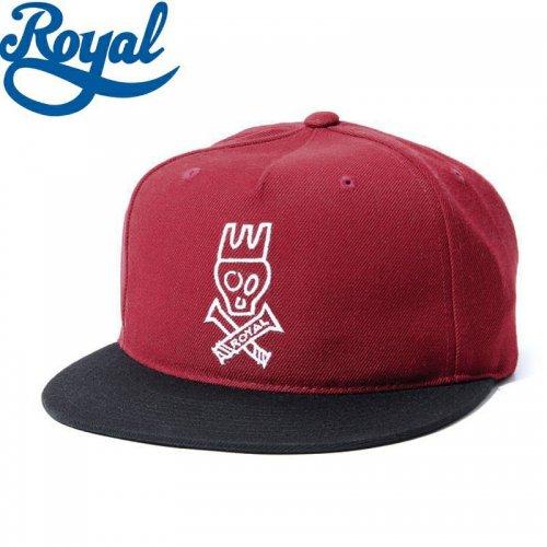 【ロイヤル ROYAL TRUCKS スケボー キャップ】SKULL SNAPBACK HAT バーガンディ/ブラック NO16