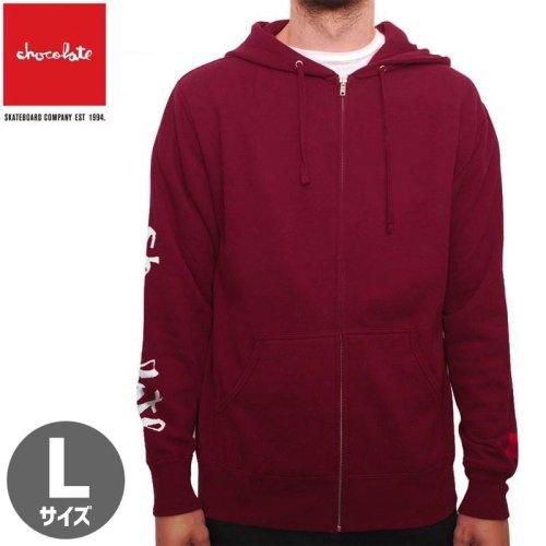 【チョコレート CHOCOLATE スケボー パーカー】CHUNK AND SQUAER ZIP HOODIE【バーガンディ】NO40