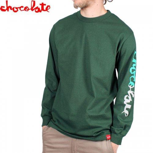 【チョコレート CHOCOLATE スケボー ロングTシャツ】HALF CHUNK L/S TEE【フォレストグリーン】NO18