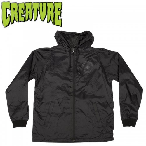 【CREATURE クリーチャー ジャケット】WEB HOODED WINDBREAKER L/S JACKET【ブラック】NO9