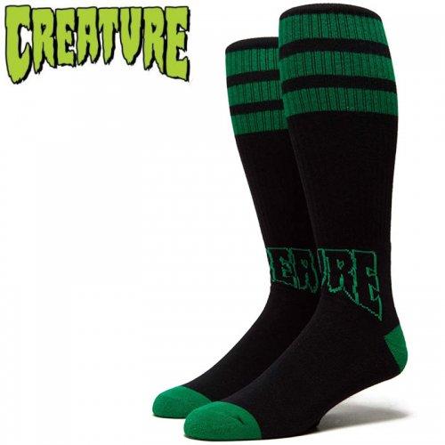 【スケボー ソックス CREATURE クリーチャー】OUTLINERS TALL SOCKS ブラック×グリーン NO24