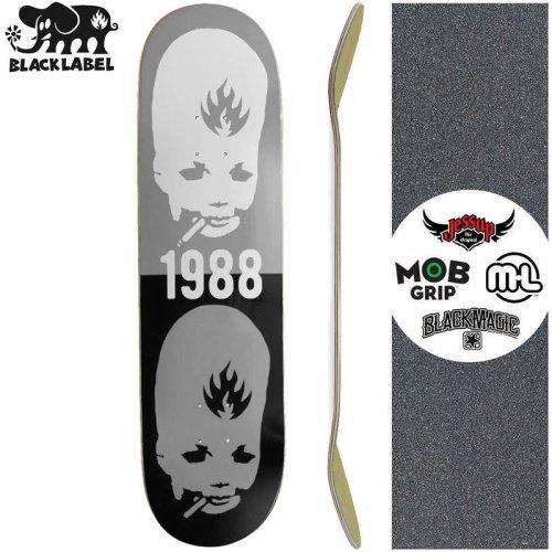 【ブラックレーベル BLACK LABEL スケートボード デッキ】THUMB HEAD STACKED DECK BLACK/GRAY【8.75インチ】NO83