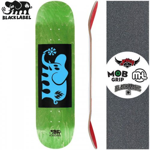 【ブラックレーベル BLACK LABEL スケートボード デッキ】ELEPHANT BLOCK BLUE DECK グリーン【8.125インチ】NO88