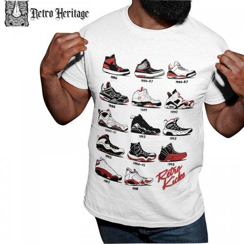 【RETORO HERITAGE レトロヘルテージ スケートボード マイケルジョーダン Tシャツ】RETRO KICKS ORIGINAL TEE【ホワイト】NO3