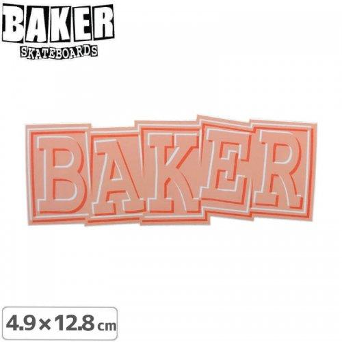 【ベーカー スケボー ステッカー】BAKER RIBBON STICKER 4.9cm×12.8cm オレンジ NO83