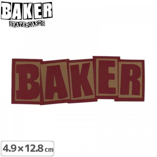 【ベーカー スケボー ステッカー】BAKER LOGO STICKER 4.9cm×12.8cm レッド NO86