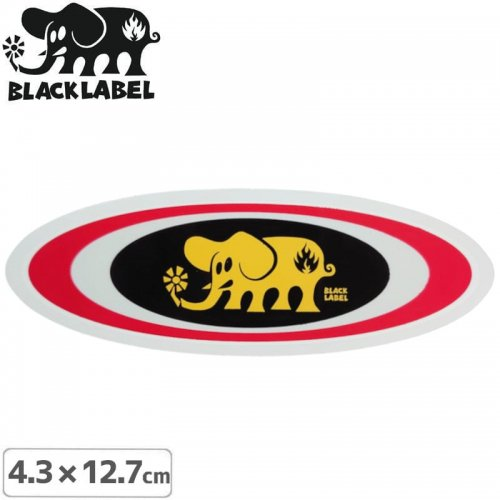【BLACK LABEL ブラックレーベル ステッカー】OVAL ELEPHANT STICKER【4.3 x 12.7cm】レッド NO66