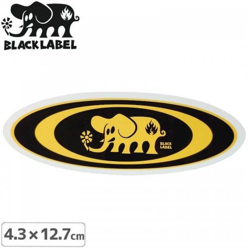 【BLACK LABEL ブラックレーベル ステッカー】OVAL ELEPHANT STICKER【4.3 x 12.7cm】イエロー NO67