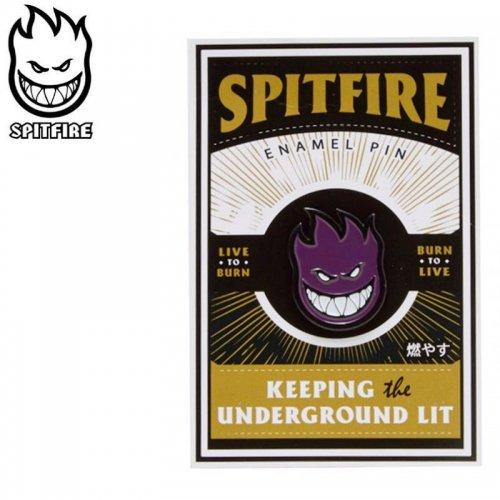 【スピットファイヤー SPITFIRE スケボー ピンバッチ】LAPEL BIGHEADFIL PIN ブラック×パープル 2.3cm×2cm NO6