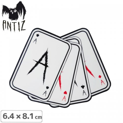 【ANTIZ アンティス スケートボード ステッカー】ACE CARD STICKER【6.4cm×8.1cm】NO4