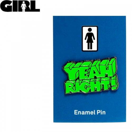【GIRL ガールスケートボード ピンバッチ】YEAH RIGHT ENAMEL PIN 2.2cm x 3.7cm NO11