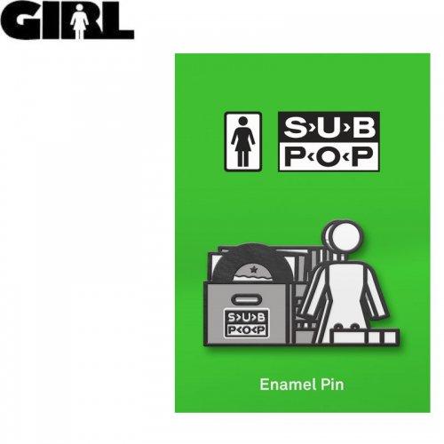 【GIRL ガールスケートボード ピンバッチ】SUB POP STACKED PIN 2.8cm x 4.4cm NO12