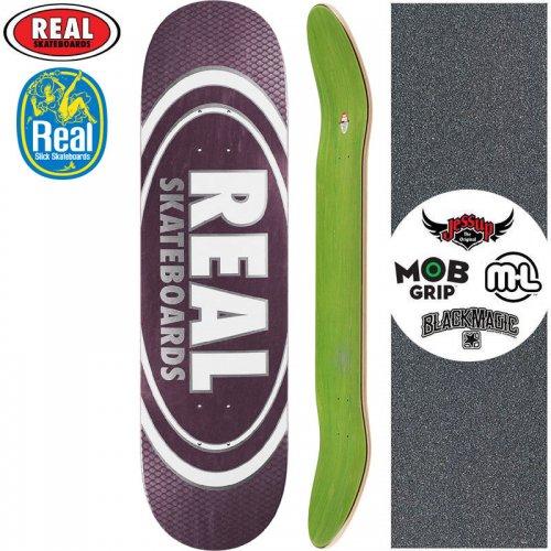 【リアル REAL スケートボード デッキ】TEAM OVAL PEARL PATTERNS SLICK DECK【8.25インチ】ブラウンパープル NO176