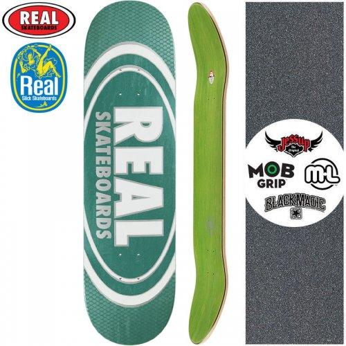 【リアル REAL スケートボード デッキ】TEAM OVAL PEARL PATTERNS SLICK DECK【8.25インチ】フォレストグリーン NO177