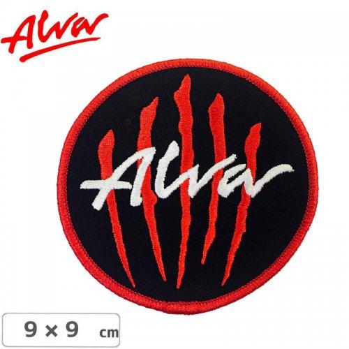 【アルバ ALVA スケボー ワッペン】SCRATCH LOGO EMBROIDERED IRON ON PATCH ブラック×レッド NO1