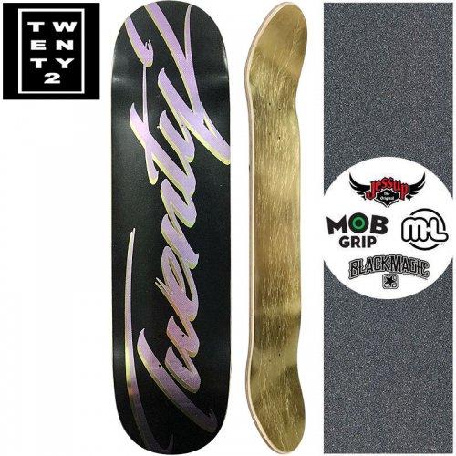 【22BOARD CO トゥエンティツー スケートボード デッキ】FAST SCRIPT BLACK DECK【8.0インチ】ホイル パープル NO12