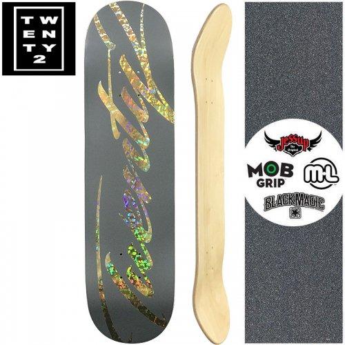 【22BOARD CO トゥエンティツー スケートボード デッキ】FAST SCRIPT GRAY DECK【8.0インチ】ホログラム ゴールド NO16