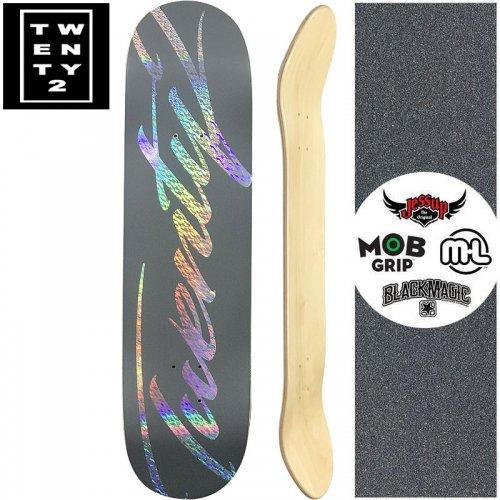 【22BOARD CO トゥエンティツー スケートボード デッキ】FAST SCRIPT GRAY DECK【8.0インチ】ホログラム シルバー NO17
