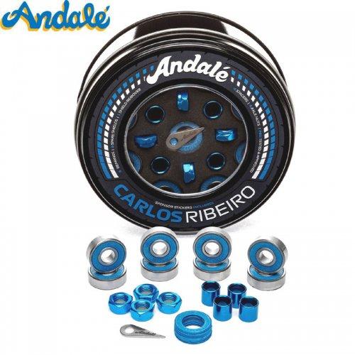 【ANDALE アンダレー スケボー ベアリング】CARLOS RIBEIRO ABEC7以上 アクセルナット付き ブルー NO12