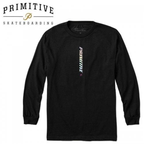 【PRIMITIVE プリミティブ スケボー ロング Tシャツ】WARNING L/S TEE【ブラック】NO32