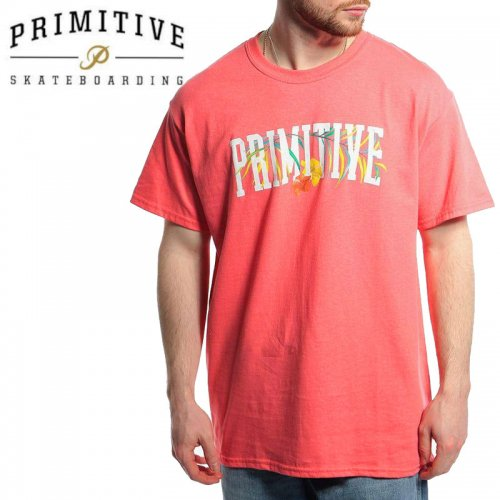 【PRIMITIVE プリミティブ スケボー Tシャツ】PALMS TEE【コーラルピンク】NO34