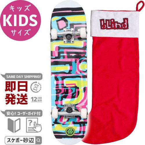 【BLIND キッズ スケボー コンプリート】LOGO GLITCH YOUTH FP COMPLETE W/STOCKING 92A【7.25インチ】NO77