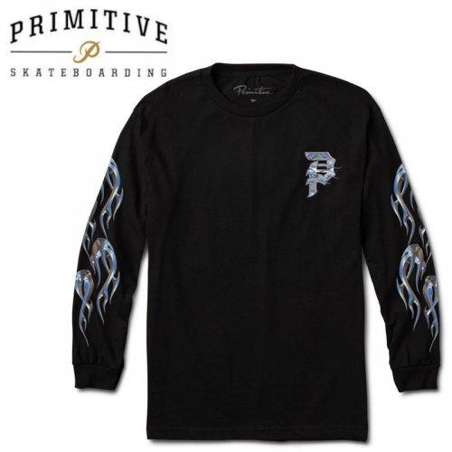 【PRIMITIVE プリミティブ スケボー ロング Tシャツ】DIRTY P CHROME FLAMES L/S TEE【ブラック】NO34