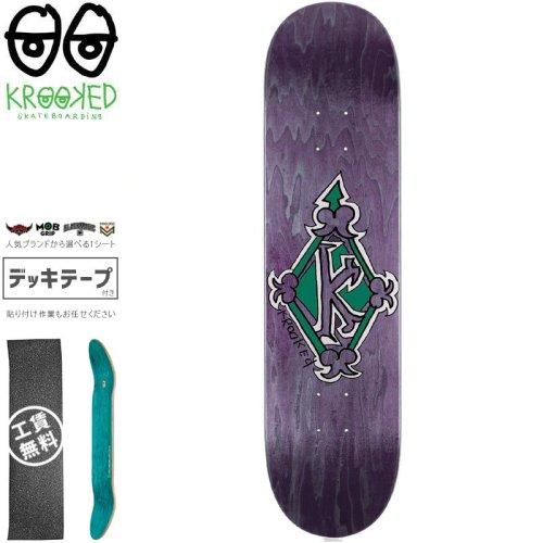 【クルックド KROOKED スケートボード デッキ】REGAL TM GREEN DECK【8.25インチ】パープル NO138