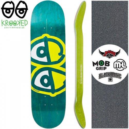 【クルックド KROOKED スケートボード デッキ】EYES YELLOW DECK【8.06インチ】ターコイズ NO139