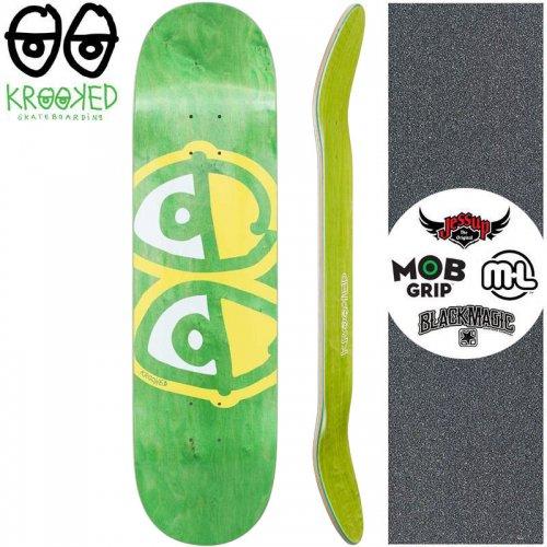 【クルックド KROOKED スケートボード デッキ】EYES YELLOW DECK【8.06インチ】リーフグリーン NO140