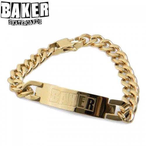 【BAKER ベーカー スケボー 小物】LOGO ID BRACELET ゴールド NO1