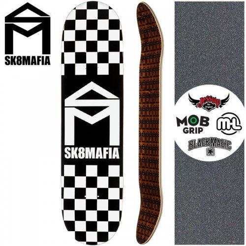 【スケートマフィア SK8MAFIA スケートボード デッキ】HOUSE LOGO CHECKER DECK【7.75インチ】ブラック NO135