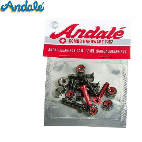 【ANDALE アンダレー スケボー ハードウェア】COMBO HARDWARE RED【7/8インチ】六角プラス共通 NO1