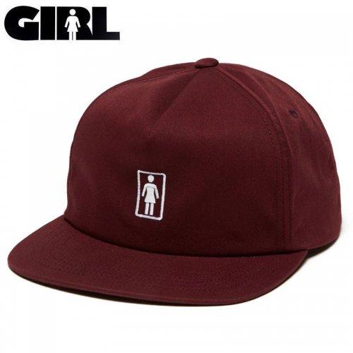 【ガール GIRL スケボー キャップ】CLASSIC OG SNAPBACK HAT マルーン NO82