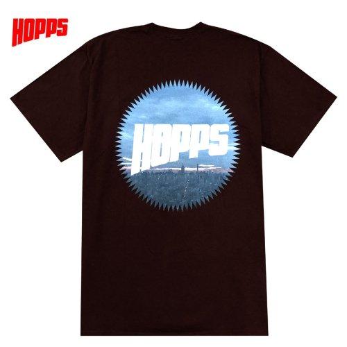 【HOPPS ホップス スケボー Tシャツ】SUN LOGO CITY TEE【チョコレート】NO5
