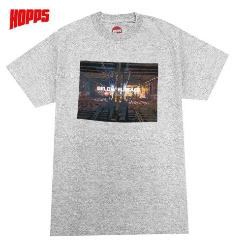 【HOPPS ホップス スケボー Tシャツ】BELOW SURFACE MOVEMENT TEE【ヘザーグレー】NO7
