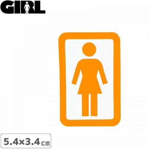 【GIRL ガールスケートボード STICKER ステッカー】BOX LOGO STICKER オレンジ×ホワイト 5.4cm x 3.4cm NO149