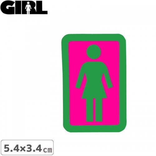 【GIRL ガールスケートボード STICKER ステッカー】BOX LOGO STICKER グリーン×ピンク 5.4cm x 3.4cm NO151